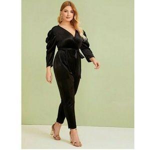 NY Collection 2XP Black Velvet Jumpsuit 5AL60